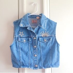 Vintage Denim Patch Cropped Vest